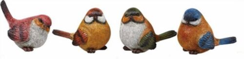 Set of 4 Multi-Color BIRD Figurines--Each has a Slightly Different Pose--Resin