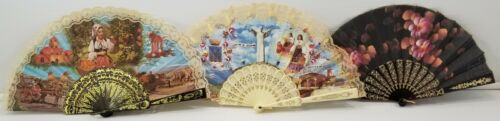 VC) Vintage Lot of 3 Italian Souvenir Fans Sicilia Sicily Maratea Southern Italy
