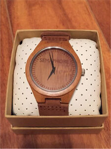 New Bamboo watch on leather strap