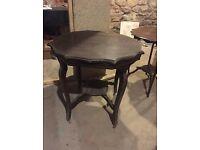 Vintage antique unique dark chocolate brown wooden round table H 74 cm x W 74 cm