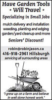 Yard and Garden - Have Garden Tools Will Travel
