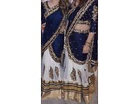 Blue velvet and white lace lengha