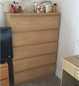 Oak effect bedroom furniture