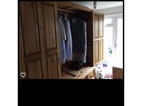 Solid Wood Double Wardrobe With 5 Drawer Chest