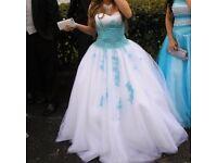 GOOD CONDITION WEDDING/PROM DRESS. SLEEVELESS. BLUE WHITE BALLGOWN.