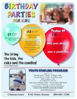 BOWLING BIRTHDAY PARTIES AT CHATEAU LANES