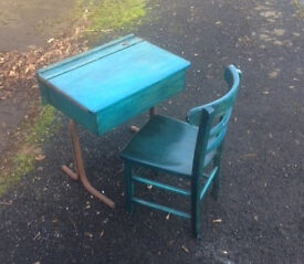 childrens wooden school desk and chair