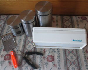 FREE kitchen containers and plastic wrap holder