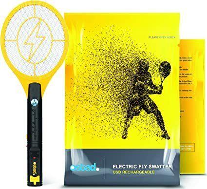 Ostad Electric Fly Swatter Mini Bug Zapper Racket , Rechargeable Handheld