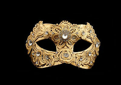 Mask from Venice Colombine Macrame Golden Authentic in Paper Mache 212