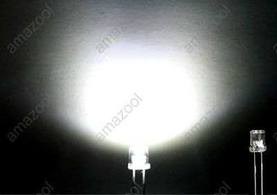 100pcs X white Super Bright 5mm Flat top Wide Angle led Light lamp on Rummage