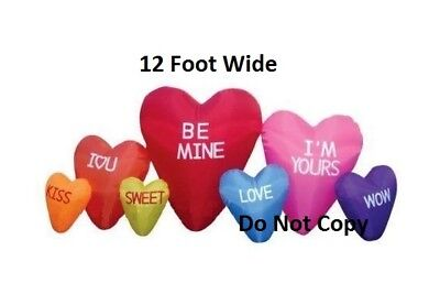 12 Ft Valentines day Hearts Cluster AIR Blown inflatable Romantic Lighted yard ](Valentine Inflatable)
