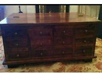 Solid sheesham 12 drawer coffee table