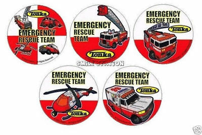 15 Tonka Rescue Fire EMT Truck Stickers Kid Party Goody Bag Filler Favor Supply - Tonka Truck Party Supplies