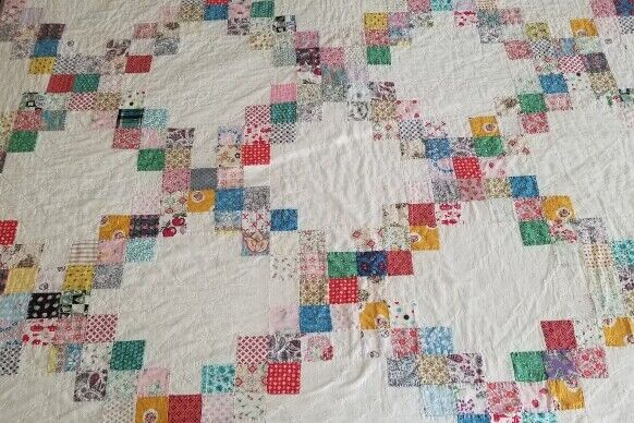 Charming! Vintage 1930s Multi Color & White Feed Sack Irish Chain Quilt 76 X 68