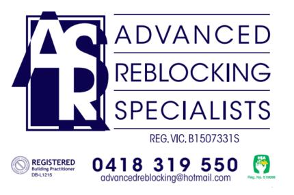 Re-blocking Re-stumping Under pinning Re-levelling