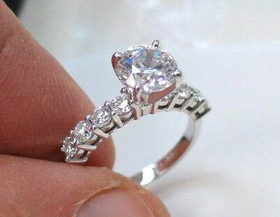 2 ct, 1.17 carat Round Diamond J SI2 GIA cert triple EX 14k White Gold Ring