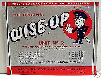 Wise Up Soda Flavor Bottle Label Staten Island New York