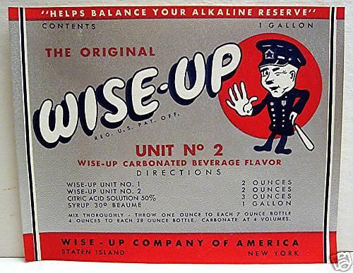 Wise Up Soda Flavor Bottle Label Staten Island New York