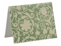 100 Metallic Green Blank Notecards with Antique Ivory Flock Design