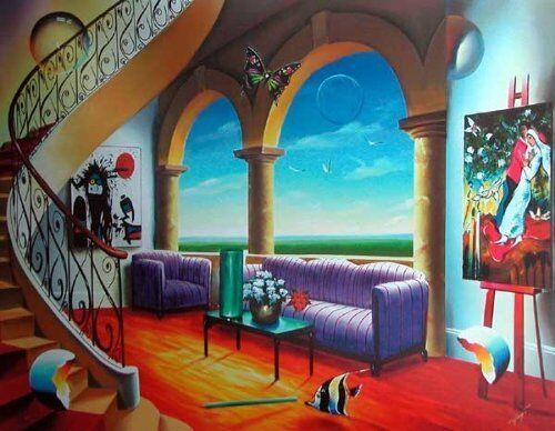 """Ferjo """"Serenity"""" Hand Signed/# Giclee on Canvas 40x30 Grand Staircase Beauty"""