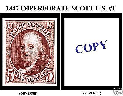 1847 5¢ IMPERFORATE U.S. SCOTT #1 REPRODUCTION