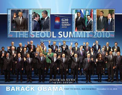 Micronesia- President Barack Obama Visits South Korea Sheet of 4 Stamps