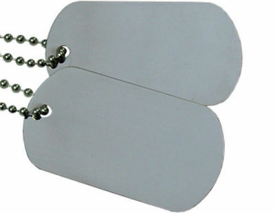 - Military Spec. Army Blank Matte Dog Tag Set w/ Stainless Steel Ball Chains