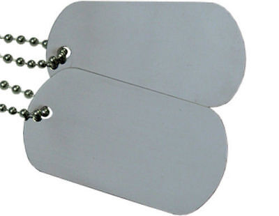 Military Spec. Army Blank Matte Dog Tag Set w/ Stainless Ste