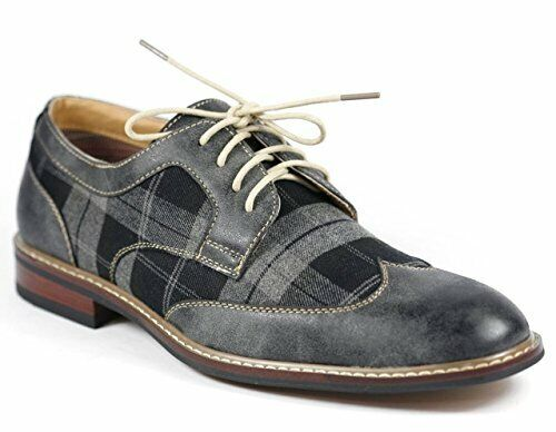 New Ferro Aldo Men's Wng Tip Gray Lace Up Designer Plaid Oxfords Dress Shoes