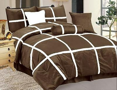 "QUEEN size Bed in a Bag 7 pcs ""Micro Fur"" Comforter Bedding Ensemble Set - BROWN"