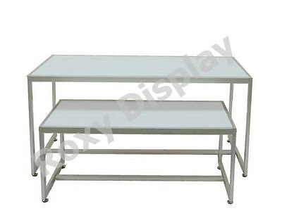 White Color Table Set With Matte Silver Frame Racks Stands Rk-ta2w