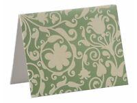100 Blank Metallic Green and Ivory Flocked Blank Notecards / Invitations/ Menus