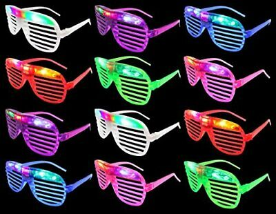 - 12 Flashing LED Multi Color Slotted Shutter Light Up Glasses Show Party Favor