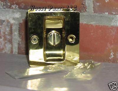 Pocket Door Hardware Privacy Polished Brass Sliding Finger Pull  CLEARANCE SALE