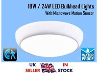 15W/18W/24W Flush Mount LED Ceiling Light Cool White Waterproof Microwave Sensor Ideal For Bathroom