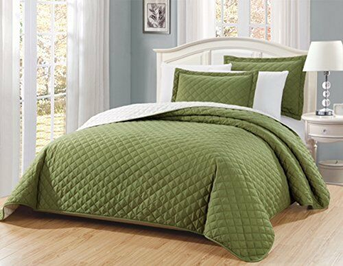 Fancy Linen 3pc Oversize Solid Sage Green Diamond Quilted Be
