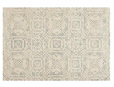 Crate and Barrel tufted Azulejo Neutral Modern 5X8 6X9 8X10 9X12 wool area rug