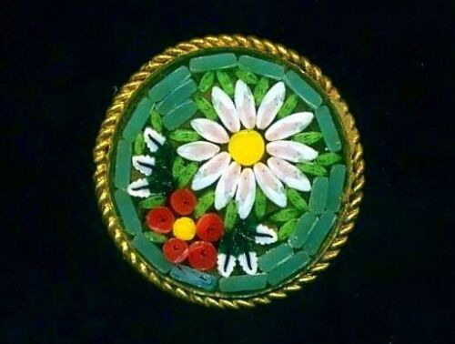 Green Italian MOSAIC with Flowers…Vintage Antique Button