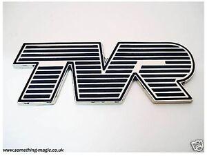 Chrome Plated Enamel TVR Car Badge Tuscan Cerbera finished in Black