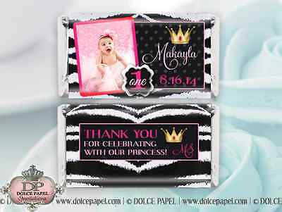 10 Zebra Black & Pink Princess Girl Custom Photo Mini Hershey Candy Bar Wrappers ()