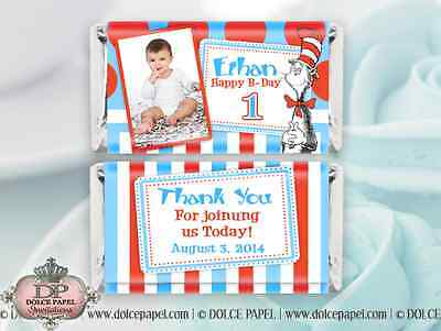 10 Dr. Suess Cat In The Hat Birthday Style Mini Hershey Candy Bar Wrappers ()
