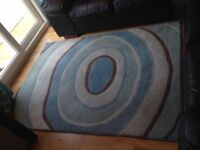 Next Teal & Brown Rug with co-ordinating Cushion Covers