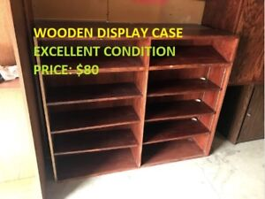 Excellent Wooden Display Cases are up for sale!