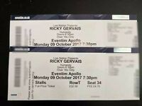 Ricky Gervais Humanity Tickets x 2 at Hammersmith Apollo - Stalls Centre