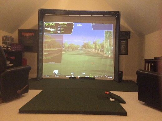 Golf Simulator  HD Impact Screen Frame 120 x 105/ side walls and mat for Skytrak