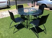 5 Piece Dining Suite Wrought Iron Table & 4 Leather Chrome Chairs Oakden Port Adelaide Area Preview