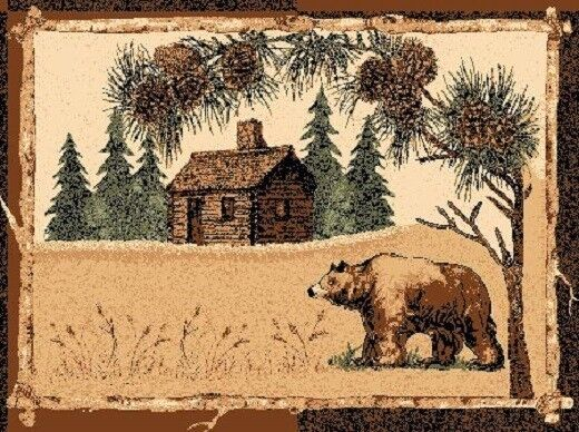 2' X 4' COUNTRY THEME LODGE MAT RUG WITH BEAR LOG CABIN GREEN PINES CABIN RUG