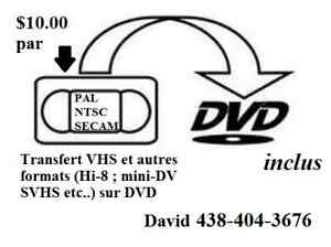 VHS Transfer (NTSC,SECAM,PAL) and others formats to DVD