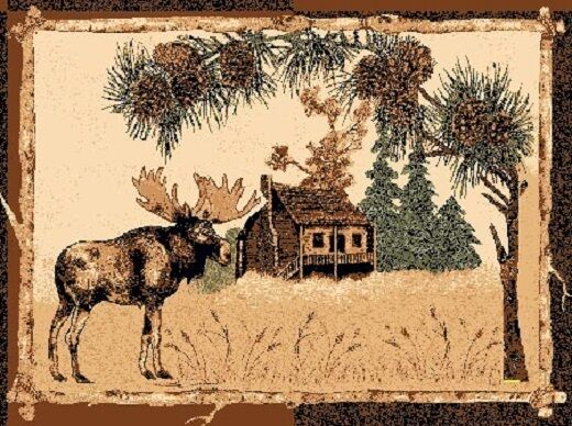 4'X 6' COUNTRY THEME LODGE AREA RUG WITH A MOOSE IN PINE TREES CABIN RUG